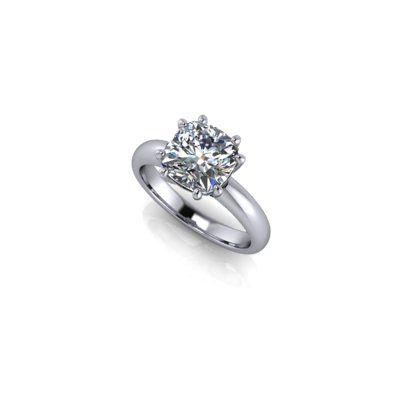 Cushion W shape engagement ring