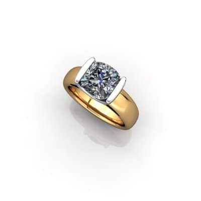 Cushion shape engagement ring
