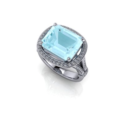 Emerald cut aquamarine and diamond halo