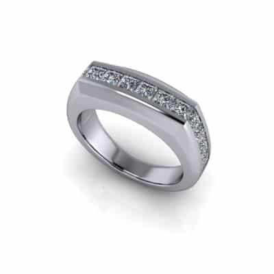 Gents priness cut wedding ring