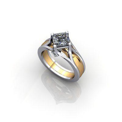 Princess off set engagement ring