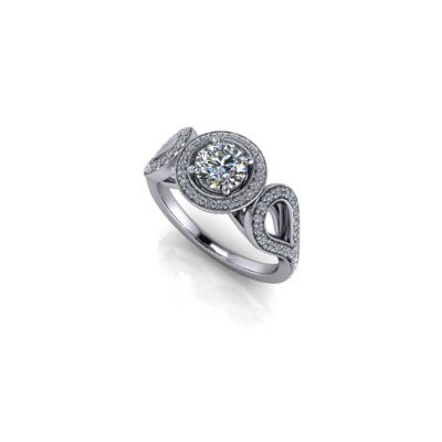 Round halo shoulders engagement ring