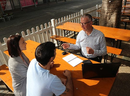 Michael Dransfield meeting clients in their lunch break